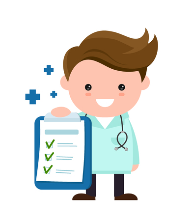 Toung cute happy smiling medical doctor with clipboard,checklist. Vector modern flat style cartoon character illustration.