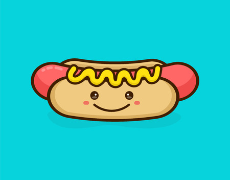Cute happy smiling tasty hot dog. Vector modern line outline flat style cartoon character illustration. Isolated on blue background.Concept creative card, logo for street food hot dog cafe