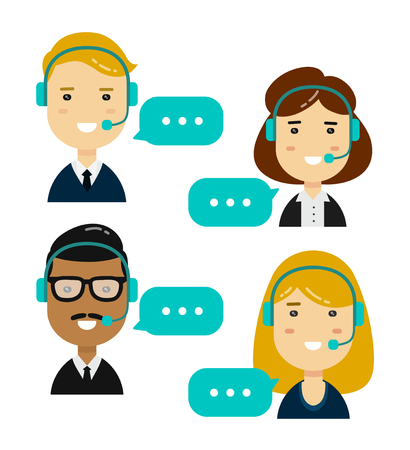 communication cartoon: Male and female call center avatars.isolated on white background. Vector modern style flat cartoon character illustration design icon.  Technical support, communication concept Illustration