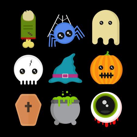Cute fun Halloween icons set.Vector modern flat style cartoon character illustration.