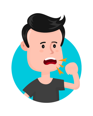 pharmacy symbol: Young sick man cough. Sore throat. Vector modern flat style cartoon character illustration. Isolated on white background Illustration