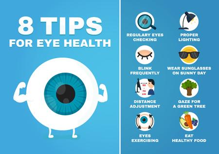 8 consejos para la infografía de salud visual. cómo a los ojos del cuidado de la salud. Carácter de globo ocular Strrong. Vector ilustración de personaje de dibujos animados de estilo moderno avatar icono de diseño. Aislado en el fondo blanco Ilustración de vector