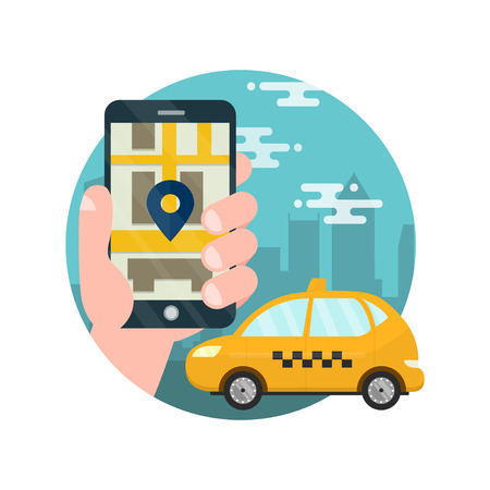 smartphone: App for taxi.Man holds hand with smarthone.Application for calling taxi.Yellow car on the city map,cab,mobile phone with map and big city on background,taxi service concept.vector flat illustration