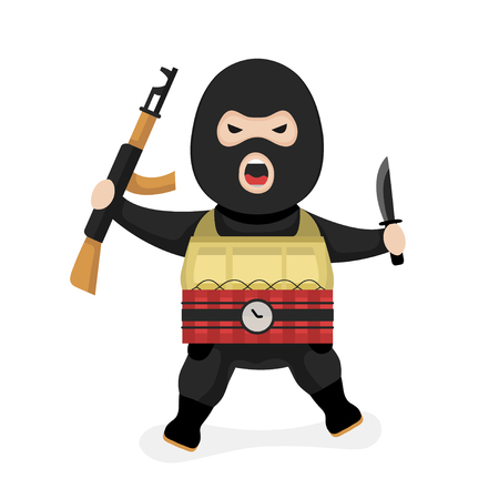 Angry terrorist. Vector modern flat style cartoon character illustration. Isolated on white  background. Terrorism concept  イラスト・ベクター素材