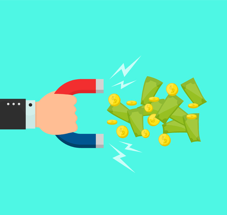 Hand with a big magnet attracts money dollar, coins, bilks. Vector flat cartoon illustration modern syle icon design. Isolated on blue background