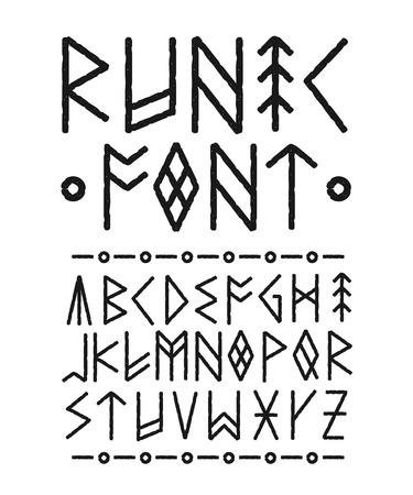 룬 문자 손으로 그려진 된 글꼴. 벡터 잉크 브러시 디자인입니다. 룬 문자 비문의 스타일. Ethno 북유럽 활자 글꼴 서체 페인트 잉크 개념입니다. 검정색