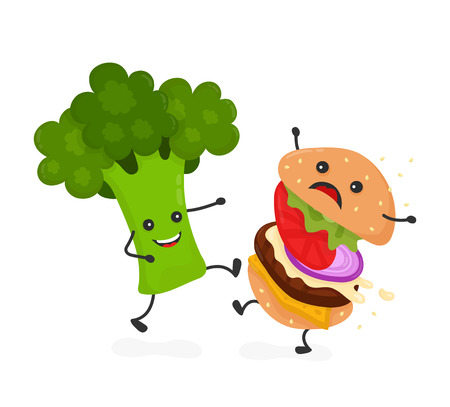 Happy smile strong broccoli kick burger, hamburger. Vector modern flat style cartoon character illustration icon design.Isolated on white background. Healthy food against unhealthy fast food.Nutrition