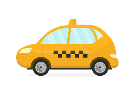 car isolated: Yellow taxi cab auto. Vector flat modern style illustration cartoon icon.Isolated on white background