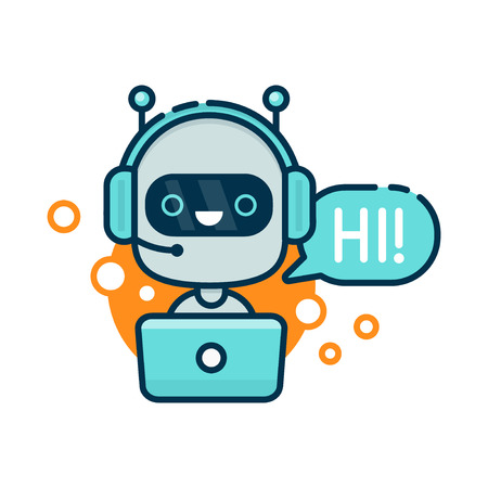 Cute smiling robot, chat bot say hi. Vector modern line outline flat style cartoon character illustration. Isolated on white background.Speak bubble. Voice support, virtual online help support concept Illustration