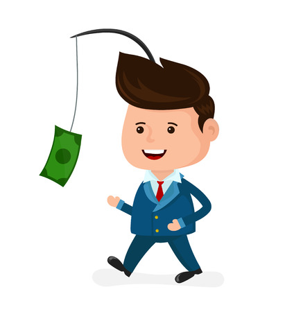 Cute happy smiling businessman motivated by money. Run for money,dollar,cash. Vector modern flat style cartoon character illustration. Isolated on blue background. Business concept. Illustration