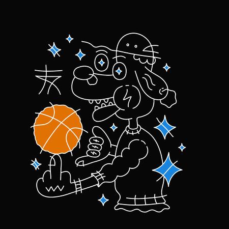 모자에 농구 공 개입니다. 벡터 만화 줄 개요 문자 그림입니다. 검은 배경에 고립. t- 셔츠에 대 한 창조적 인 인쇄 디자인입니다. 블랙, 화이트, 블루,