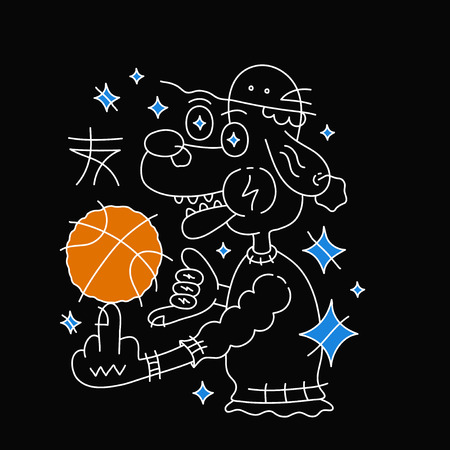 Dog in hat with basketball ball. Vector cartoon line outline character illustration. Isolated on black background.  Creative print design for t-shirt. Black, white, blue,orange