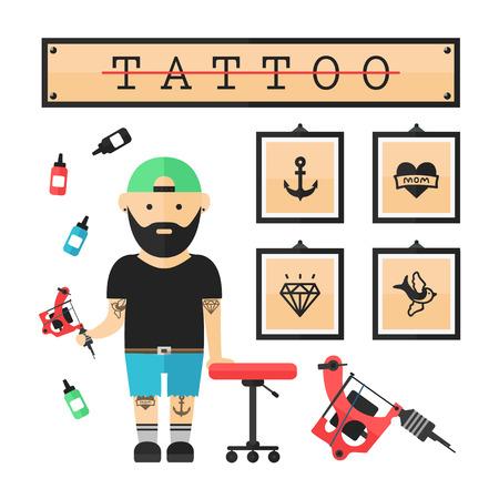pain: Tattoo artist  master in salon. Vector modern flat style cartoon character illustration. Isolated on white background. Tattoo concept. Anchor, heart, diamond, swallow Illustration