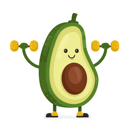 Cute happy smiling avocado doing exercises with dumbbells. Vector modern flat style cartoon character illustration. Isolated on white background.  Eating healthy food, fitness, sport concept design Illustration