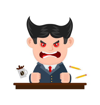 communication cartoon: Angry scary scream boss businessman. Vector flat cartoon character illustration modern syle icon design. Isolated on white background