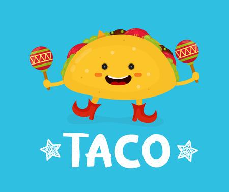 Dulce sonriente feliz lindo taco danza con maracas. Ilustración vectorial de personaje de dibujos animados de estilo plano moderno. Aislado en fondo azul. comida mexicana, cafetería, menú de restaurante. Tarjeta del taco del amor