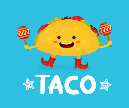 Tasty cute happy smiling taco dance with maracas. Vector modern flat style cartoon character illustration. Isolated on blue background.  mexican food, cafe, restaurant menu. Love taco card Ilustracja