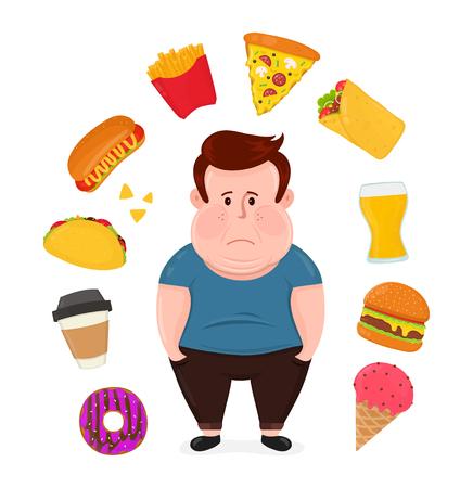 건강에 해로운 음식에 둘러싸인 뚱뚱한 슬픈 청년
