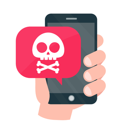 Smartphone mobile in danger concept. Vector modern style cartoon character illustration icon design. Malware notification, fraud internet error message, insecure connection,online scam,virus.red alert Vettoriali