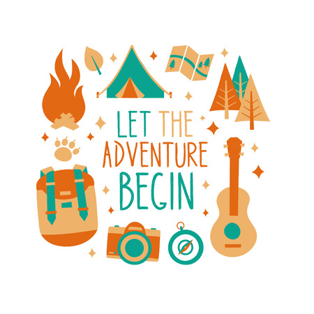 Let the adventure begin inscription card, t-shirt print design. Hipster nature travel adventure concept. Isolated on white background. Vector flat illustration. ukulele, camping. tent. forest. bonfire