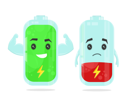 low battery and full power battery vector flat cartoon character illustration. Energy charge concept Illustration