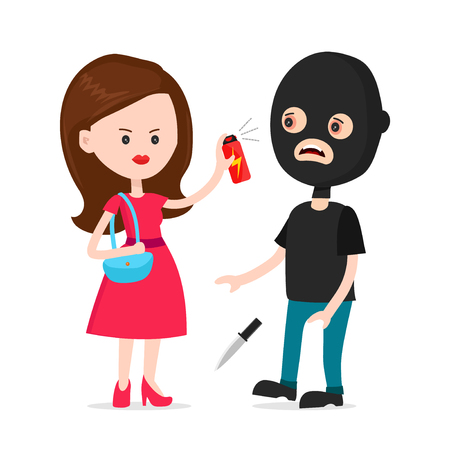 Woman protected herself from robber. Self defense spray concept. Vector modern style cartoon character illustration icon design.  human attack technology, safety equipment, personal security,tear-gas