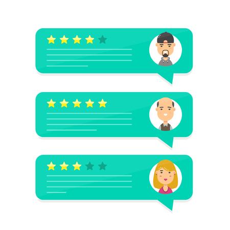 Bespreking bellen met toespraken controleren. Vector modern avatar van het het karakterillustratie van de stijlbeeldverhaal pictogramontwerp. concept van beslissing, beoordelingssysteem, beoordelingen sterrenstarief en tekst, feedbackevaluatie, berichten