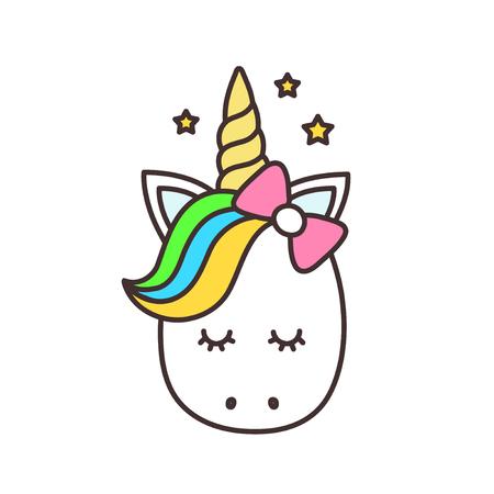 귀여운 유니콘입니다. 벡터 만화 캐릭터 그림입니다. 어린이 티셔츠 디자인. 얘들 아, 꼬마 야. 마법의 개념입니다. 흰 배경에 고립