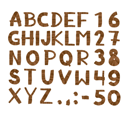 Wood tree texture font. Alphabet, vector set with all wooden letters and numbers. Isolated on white background Vector Illustration