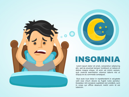 Insomnia infographic.Young man suffers from lack of sleep. Vector flat modern style illustration character icon design. Isolated on white background.  Healthy care, bad body balance, insomnia concept Ilustração