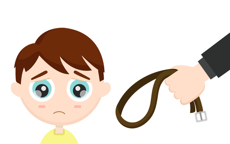 Sad frightened child and a parents hand with a strap. Vector flat cartoon character illustration design icon. Isolated on white background. Punishment of children concept