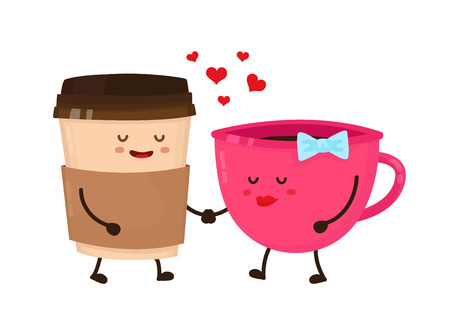 Coffee cups love flirt vector flat style cartoon fun character illustration. Cute happy icon. Take away coffee, cafe concept. Isolated on white background