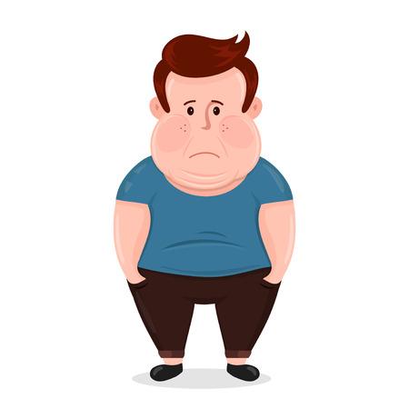 肥満のアイコン ベクトル フラットの図若い男文字。余分な体重の問題、脂肪、健康管理、不健康なライフ スタイル コンセプト デザイン。白い背景