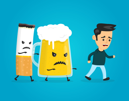 glass of beer and cigarette chasing a man. vector flat style fun cartoon character modern illustration design. alcohol and nicotine addiction kill concept. Stop drink and smoking