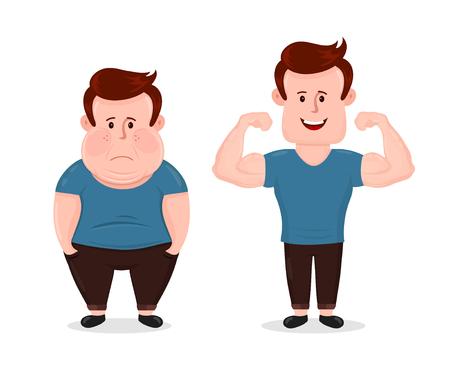 Joven triste grasa y deporte fitness feliz hombre musculoso. Muestra músculos bíceps. Vector plano moderno estilo ilustración personaje icono diseño. Aislado en el fondo blanco. Culturismo antes después del concepto Ilustración de vector