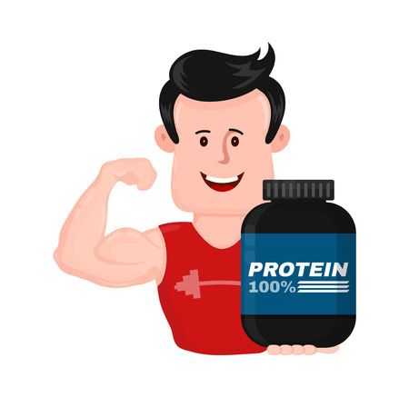 Muscular strong sport fitness man with bank of protein.Shows arms biceps.Vector flat modern style illustration character icon design.Isolated on white background.Bodybuilding sports nutrition concept