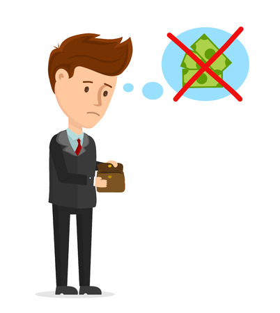 Vector cartoon modern trendy stylish flat character illustration icon design. Sad man looks in an empty wallet. No money, crisis, business, businessman, no job concept. Isolated on white background Иллюстрация