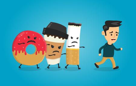Wütender Krapfen, Kaffeepapierschale und Zigarette läuft über Mannkerl. Albtraum für die Gesundheit. Lokalisierte Illustration des Vektors flache Karikaturcharakter. Gesundheitswesen concpet