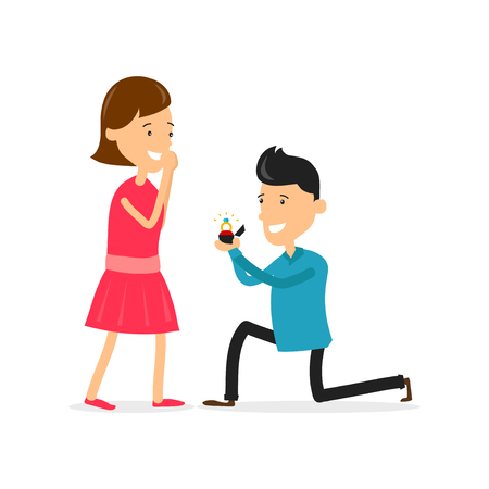 Man makes marriage proposal to girlfriend. Proposed wedding. Vector flat cartoon character illustration. Isolated on white background. wedding concept