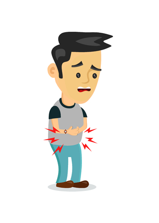 stomachache, food poisoning, stomach problems.vector flat cartoon concept illustration of men character food poisoning or digestion.nausea, diarrhea, abdominal cramps,headache, flu, pain, constipation