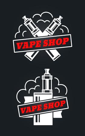 vape shop hipster vintage retro icon vector design. white icon isolated on white background. Vaping, vaporize, vapor, vaporizer, vape, e-cigarette, e-cig icon set