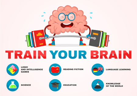 train your brain infographic . brain vector cartoon flat illustration fun character creative design. education,science,smart, brain books fitness concept.train lifts with book barbell. fiction, logic Illustration