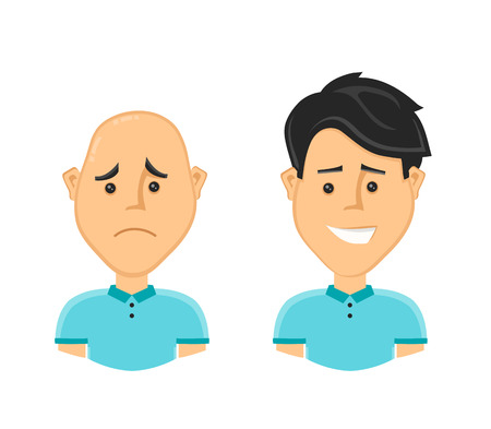 aging face: sad bald man and a happy man with a beautiful luxuriant long hair. Vector design flat cartoon character illustration. Isolated on white background. baldness concept Illustration