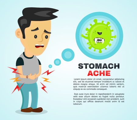 Young sick man having stomach ache, food poisoning, stomach problems, abdominal pain . Vector flat cartoon character illustration infographic. Medical concept. Angry bacteria in the stomach