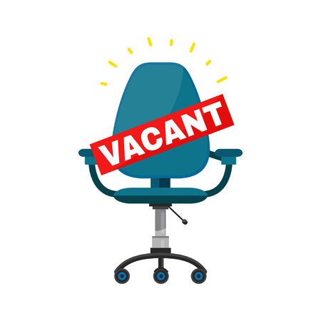 unoccupied: Vacant office chair place for job concept. Vector cartoon modern trendy stylish flat character illustration icon sign design.  Business hiring and recruiting. Isolated on white background