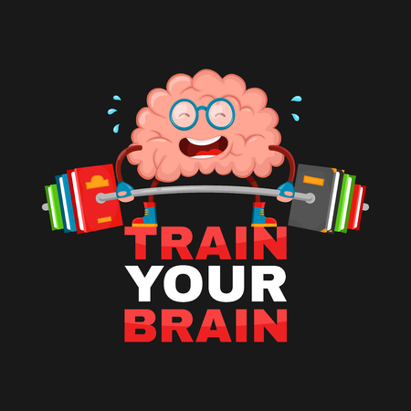 train your brain. brain vector cartoon flat illustration fun character creative design. education,science,smart, brain books fitness concept.train lifts with book barbell. isolated on black background