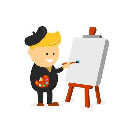 Artist painter vector cartoon flat design character illustration. Artist painter at work easel palette flat concept vector template. Character in modern design style. Isolated on white background