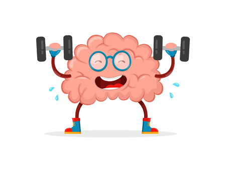 train your brain. brain vector cartoon flat illustration fun character creative design. education,science,smart,brain books fitness concept.train lifts with book barbell. isolated on white background Иллюстрация