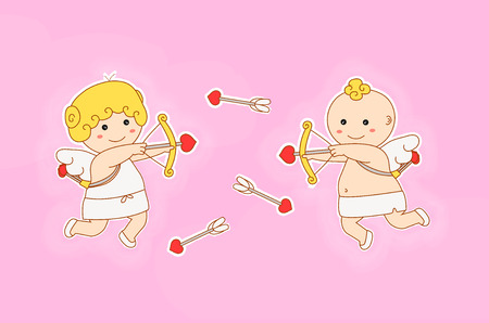 children painting: valentines day concept. vector flat cartoon angel character illustration. cupid girl and boy play, shoots a bow love heart arrow in sky. pink background