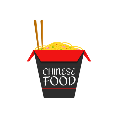 Chinese food isolated flat cartoon vector illustration icon isolated on white background. noodles box ingredient, original recipe, chopsticks, wok noodles. Chinese food icon